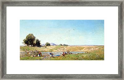 The Durance Valley, 1867 Oil On Panel Framed Print by Paul Camille Guigou