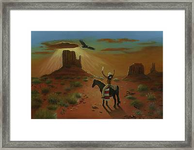 The Eagle And The Indian Framed Print by Cecilia Brendel
