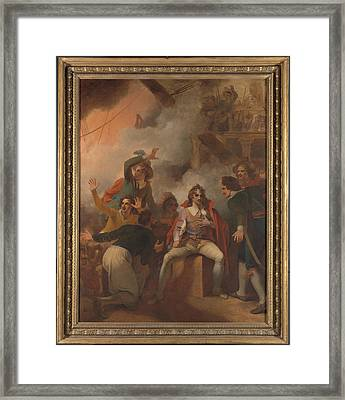The Earl Of Sandwich Refusing To Abandon His Ship Framed Print by Litz Collection