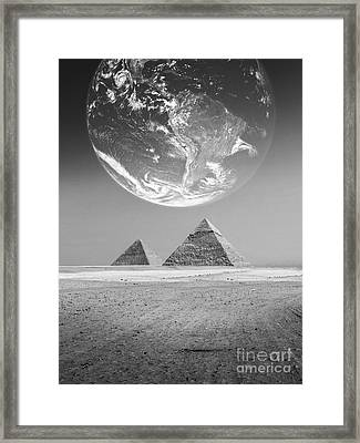 The Earth With Egyptian Pyramids  Framed Print