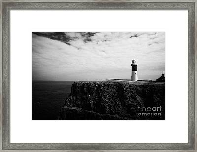 The East Light Lighthouse Altacarry Altacorry Head Rathlin Island Against Blue Sea And Blue Cloudy S Framed Print by Joe Fox