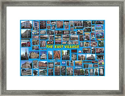 Framed Print featuring the digital art The East Village Collage by Steven Spak