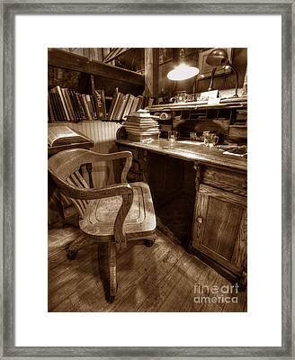 Framed Print featuring the photograph The Editor's Desk by ELDavis Photography