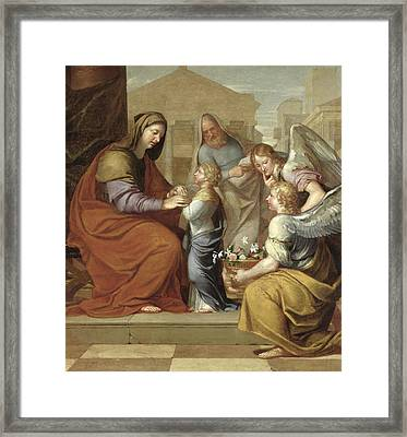 The Education Of The Virgin, 1658 Oil On Canvas Framed Print