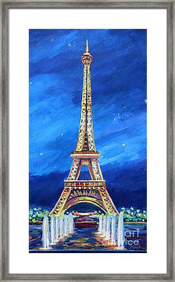 The Eiffel Tower At Night Framed Print