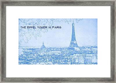 The Eiffel Tower In Paris - Blueprint Drawing Framed Print