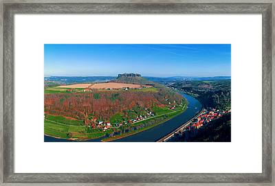 The Elbe Around The Lilienstein Framed Print