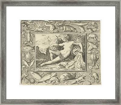 The Element Water Personified By A Women At A Well Framed Print