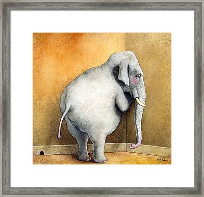 The Elephant In The Corner... Framed Print by Will Bullas