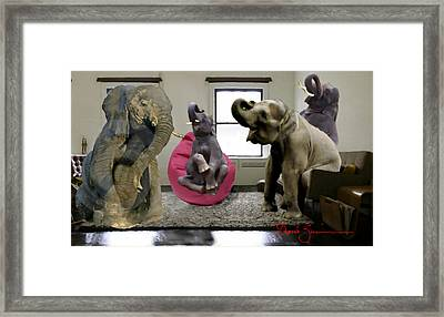 The Elephant In The Living Room Framed Print by David Zimmerman