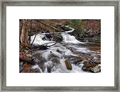 Elusive Conestoga Waterfall In Spring Framed Print by Gene Walls