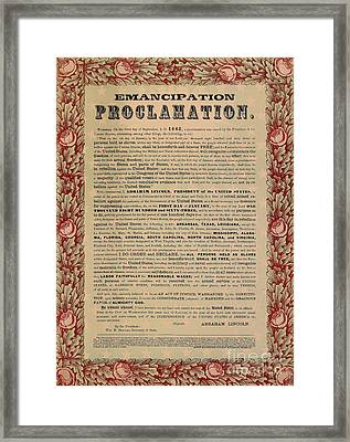 The Emancipation Proclamation Framed Print by American School
