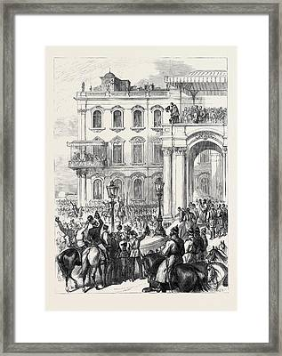 The Emperor Of Russia Bowing To The People Framed Print by English School