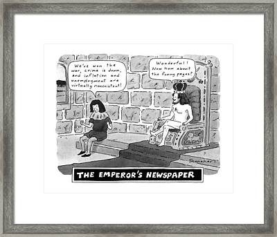 The Emperor's Newspaper Wonderful! Now How Framed Print by Danny Shanahan
