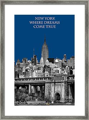 The Empire State Building Pantone Blue Framed Print by John Farnan