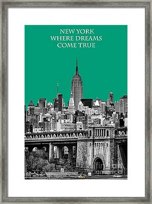 The Empire State Building Pantone Emerald Framed Print by John Farnan