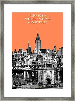The Empire State Building Pantone Nectarine Framed Print by John Farnan