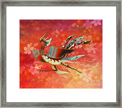 The Empress - Flight Of Phoenix - Red Version Framed Print by Bedros Awak