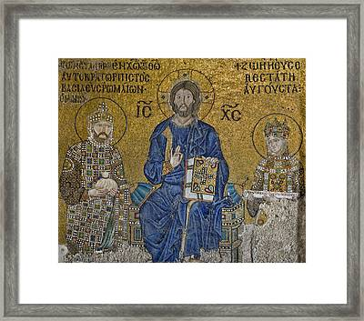 The Empress Zoe Mosaics On The Eastern Wall Of The Southern Gallery In Hagia Sophia  Framed Print by Ayhan Altun