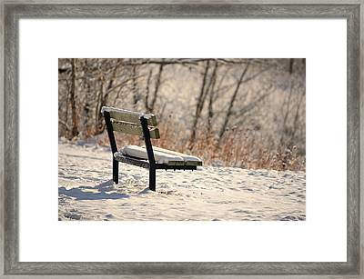 The Empty Bench Framed Print by Maria Angelica Maira