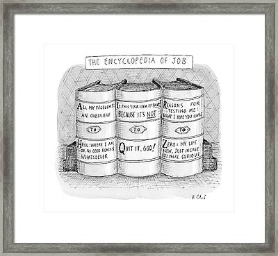 The Encyclopedia Of Job Framed Print by Roz Chast