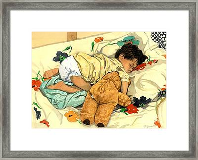 The End - Andy And Bear-bear Framed Print by Barbara Jewell