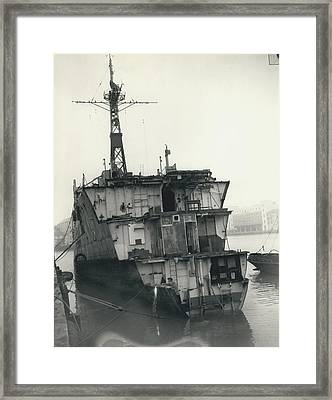 The End Of A Brave Little Ship. H.m. S. Amethyst In Framed Print by Retro Images Archive