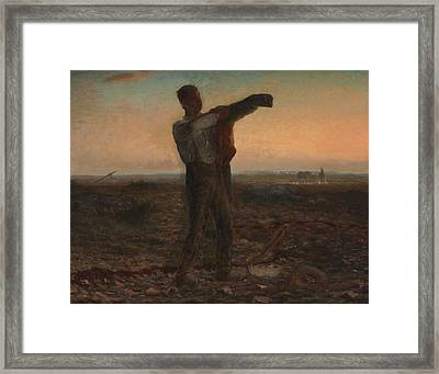 The End Of The Day Effect Of Evening  Framed Print by Jean-Francois Millet