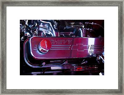 The Engine In A 1956 Chevy Bel Air Custom Hot Rod Framed Print by David Patterson