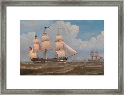 The English Merchant Ship Malabar Framed Print