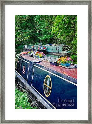 The English Way - Colourful Canal Boats At Rest Framed Print by David Hill