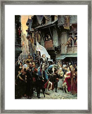 The Entrance Of Joan Of Arc Into Orleans Framed Print by Jean-Jacques Scherrer