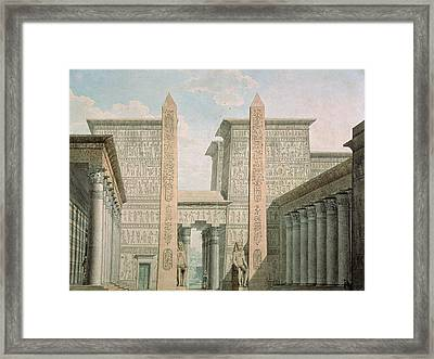 The Entrance To The Temple, Act I Scene IIi, Set Design For The Magic Flute By Wolfgang Amadeus Framed Print