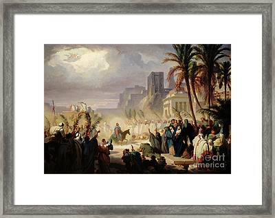 The Entry Of Christ Into Jerusalem Framed Print by Louis Felix Leullier