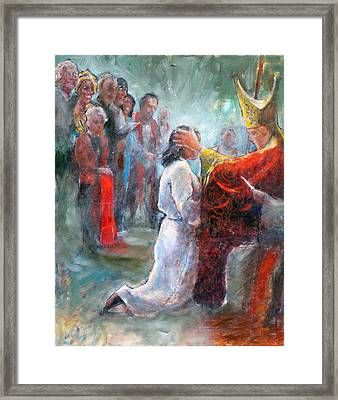 Framed Print featuring the painting The Episcopal Ordination Of Sierra Wilkinson by Gertrude Palmer