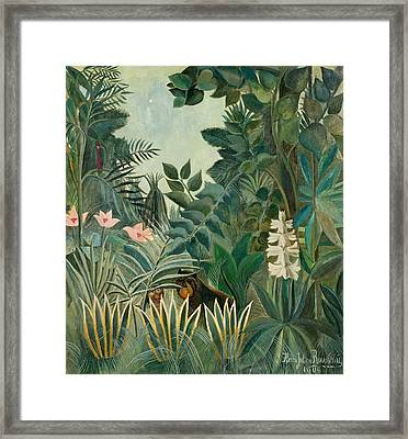 The Equatorial Jungle Framed Print by Henri Rousseau