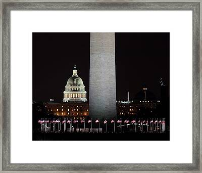 The Essence Of Washington At Night Framed Print