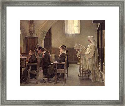 The Eve Of The First Communion Framed Print by Henri Alphonse Louis Laurent-Desrousseaux