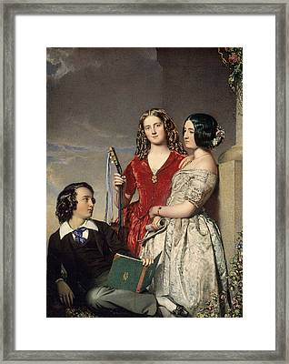 The Evening Hour, Exh. 1847 Wc On Ivory Framed Print by John Faed