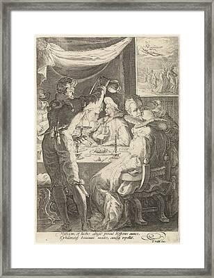 The Evening, Jan Saenredam, Cornelius Schonaeus Framed Print by Jan Saenredam And Cornelius Schonaeus And Gerard Valck