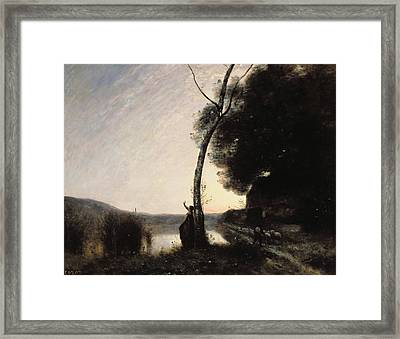 The Evening Star Framed Print by Jean Baptiste Camille Corot