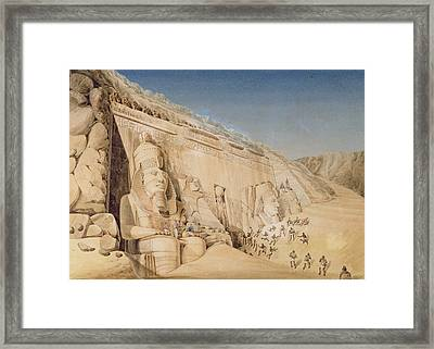 The Excavation Of The Great Temple Framed Print by Louis M.A. Linant de Bellefonds