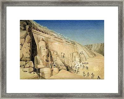 The Excavation Of The Great Temple Of Ramesses II Framed Print by Louis MA Linant de Bellefonds