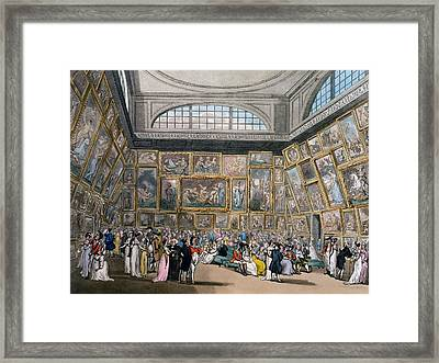 The Exhibition Room At Somerset House Framed Print by Pugin and Rowlandson