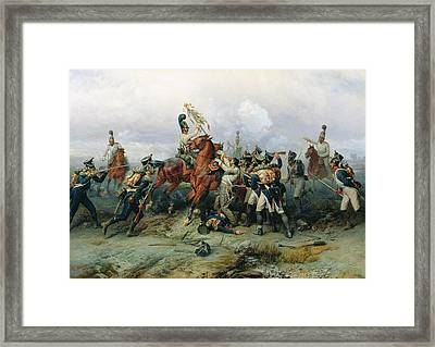 The Exploit Of The Mounted Regiment In The Battle Of Austerlitz, 1884 Oil On Canvas Framed Print