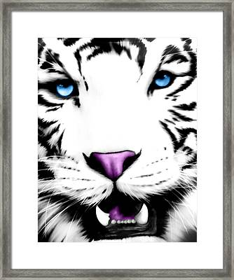 The Eye Of The White Tiger Framed Print by Gina Dsgn