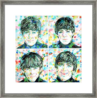the FAB FOUR - watercolor portrait Framed Print by Fabrizio Cassetta