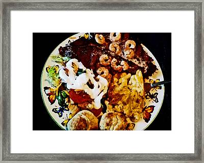 The Face In The Salad Dressing Framed Print by Melissa Osborne