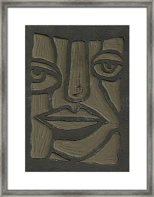 The Face Linoleum Block Carving Framed Print by Shawn Vincelette