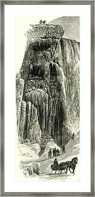 The Face Of The American Fall In Winter Usa 1891 Framed Print by American School